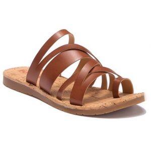 KORKS Clemons Loop Toe Strappy Brown Sandals Sz 8